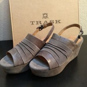Trask Shari Gray Suede Wedge Sandal (Size 9)